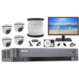 Kit Vidéosurveillance Haute définition HKVISION 4 Mini Dôme (KIT4MD-HK)