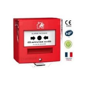 Détecteur manuel 1 contact rouge désenfumage + capot (4710R2C)