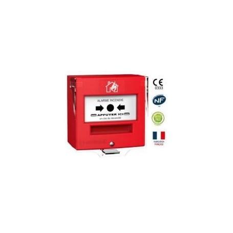 Détecteur manuel 2 contacts rouge désenfumage + capot (4711R2C)