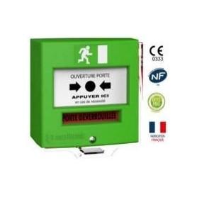 Détecteur manuel étanche 1 contact vert + capot