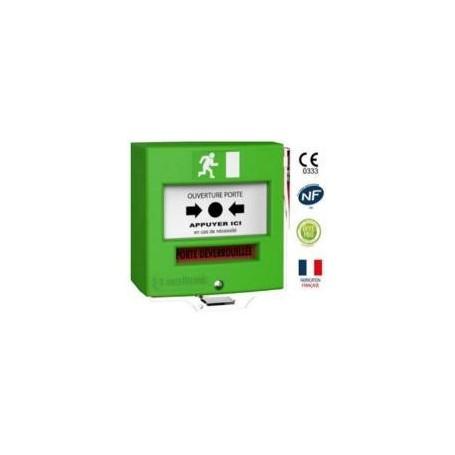 Détecteur manuel étanche 1 contact vert avec capot (4713V3C)