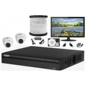 Kit Vidéosurveillance Haute définition DAHUA 2 Mini Dômes