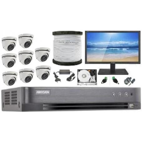 Kit Vidéosurveillance Haute définition HKVISION 8 Mini Dôme (KIT8MD-HK)