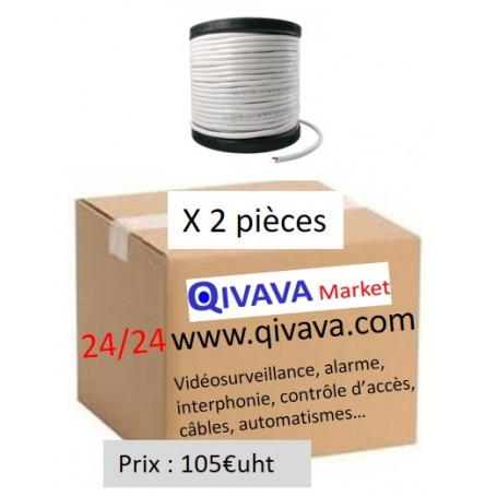 Pack 2 bobines de 300 m de Câble coaxial KX6 blanc+2x0.75