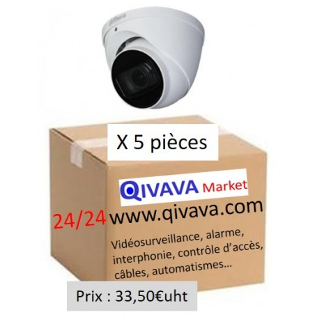 PACK DAHUA 5 Dômes Vari-focale motorisée 2,7mm 2MP (PACK5D-VFM2MP-DH)